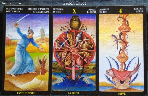 Bosch Tarot: Knave of Swords, The Wheel, & 4 of Chalices.