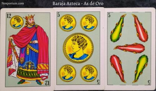 Baraja Azteca - As de Oro: 12 Oros, 5 Oros, & 5 Bastos.