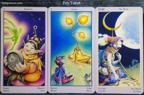 Fey Tarot: 2 of Pentacles, 3 of Wands, & The Moon.