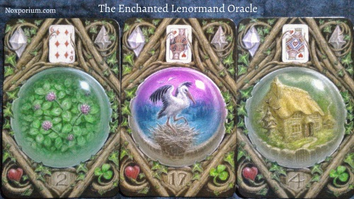 The Enchanted Lenormand Oracle: Clover + Stork + House.