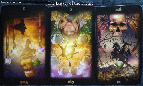 The Legacy of the Divine: 3 of Wands reversed, 6 of Cups reversed, & Death.