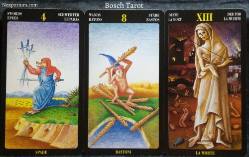 Bosch Tarot: 4 of Swords, 8 of Wands, & Death.