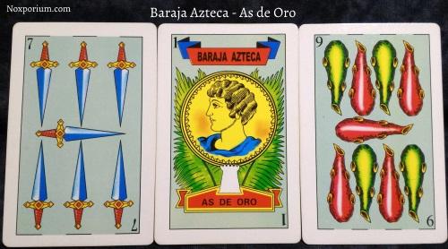Baraja Azteca - As de Oro: 7 Espadas, 1 Oro, & 9 Bastos.