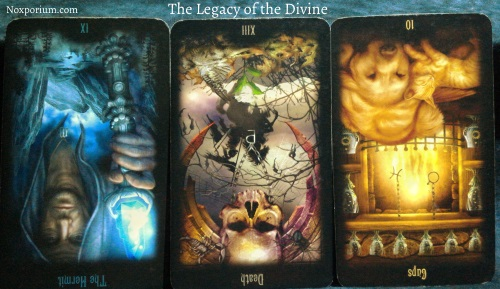 The Legacy of the Divine: The Hermit reversed, Death reversed, & 10 of Cups reversed.