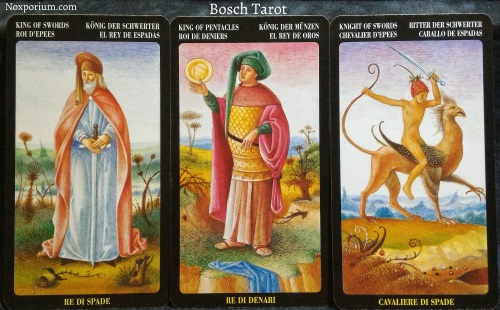 Bosch Tarot: King of Swords, King of Pentacles, & Knight of Swords.