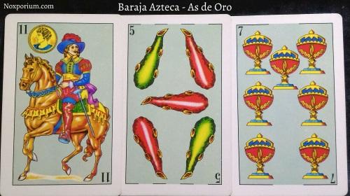 Baraja Azteca - As de Oro: 11 Oros, 5 Bastos, & 7 Copas.