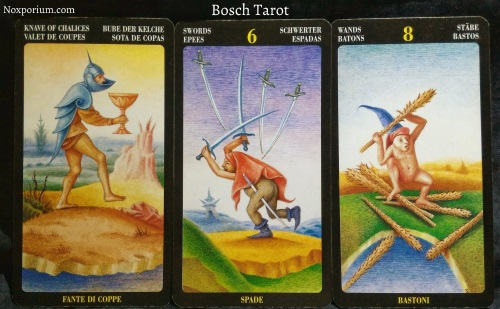 Bosch Tarot: Knave of Chalices, 6 of Swords, & 8 of Wands.