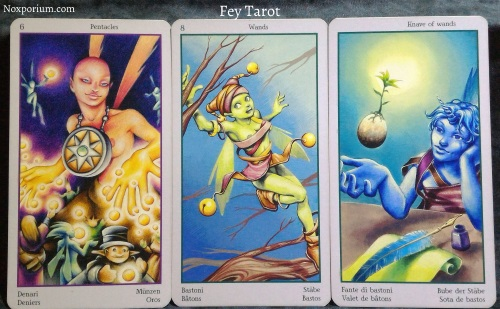 Fey Tarot: 6 of Pentacles, 8 of Wands, & Knave of Wands.