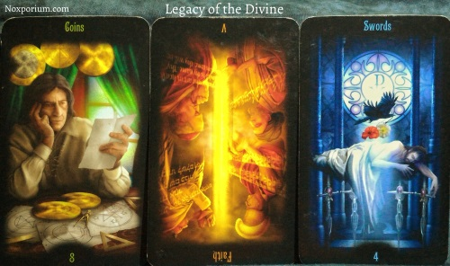 Legacy of the Divine: 8 of Coins, Faith reversed, & 4 of Swords.