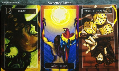 Sweeney Tarot: 10 of Cups reversed, The Star, & The Wheel of Fortune reversed.