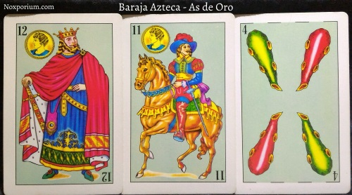 Baraja Azteca - As de Oro: 12 Oros, 11 Oros, & 4 Bastos.