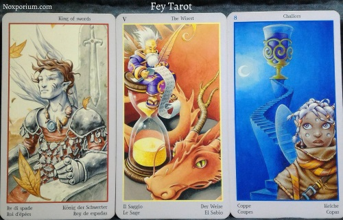 Fey Tarot: King of Swords, The Wisest [V], & 8 of Chalices.