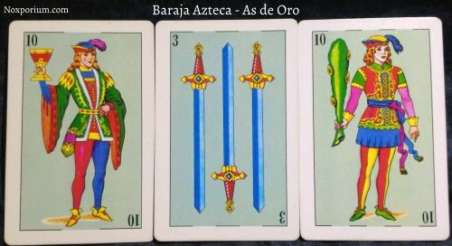 Baraja Azteca - As de Oro: 10 Copas, 3 Espadas, & 10 Bastos.