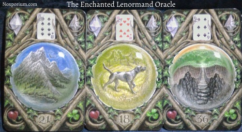 The Enchanted Lenormand Oracle: Mountain + Dog + Crossing.