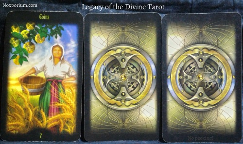 The Legacy of the Divine: 7 of Pentacles, [Unknown], & [Unknown].