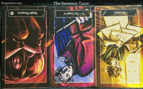 The Sweeney Tarot: 9 of Pentacles reversed, The Emperor reversed, & Ace of Wands reversed.