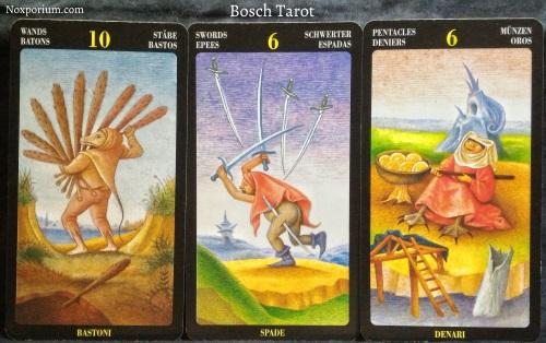 Bosch Tarot: 10 of Wands, 6 of Swords, & 6 of Pentacles.