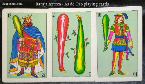 Baraja Azteca - As de Oro: 12 Bastos, 2 Bastos, & 10 Bastos.