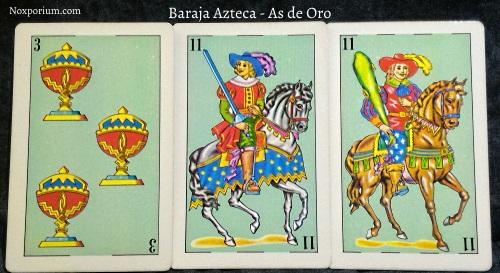 Baraja Azteca - As de Oro: 3 Copas, 11 Espadas, & 11 Bastos.