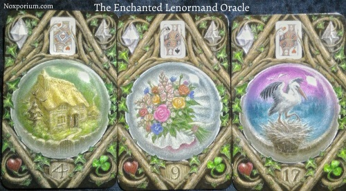 The Enchanted Lenormand Oracle: House + Bouquet + Stork.