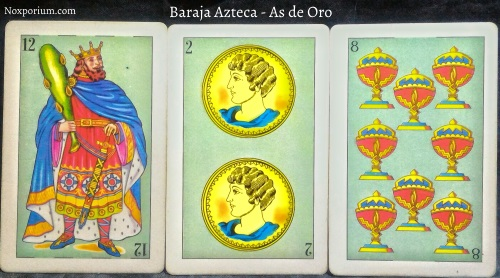 Baraja Azteca - As de Oro: 12 Bastos, 2 Oros, & 8 Copas.