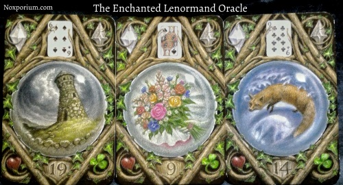 The Enchanted Lenormand Oracle: Tower + Bouquet + Fox.