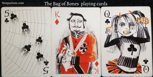 Bag of Bones: 5 of Clubs, King of Diamonds, & Queen of Clubs.