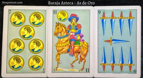 Baraja Azteca - As de Oro: 7 Oros, 11 Oros, & 9 Espadas.