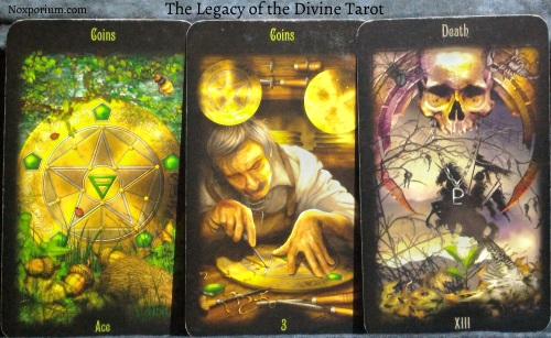 The Legacy of the Divine: Ace of Coins, 3 of Coins, & Death.