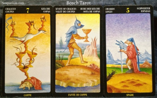Bosch Tarot: 7 of Chalices, Knave of Chalices, & 5 of Swords.