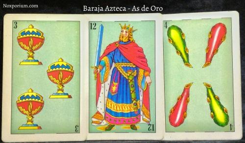 Baraja Azteca - As de Oro: 3 Copas, 12 Espadas, & 4 Bastos.