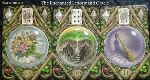 The Enchanted Lenormand Oracle: Bouquet + Crossing + Broom.
