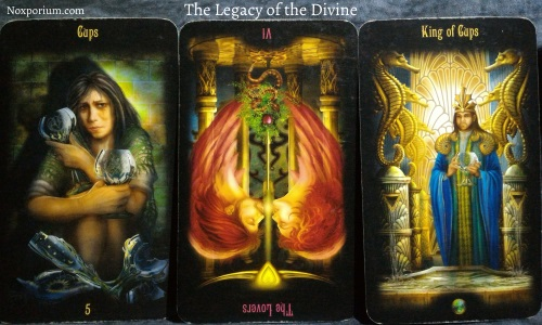 The Legacy of the Divine: 5 of Cups, The Lovers reversed, & King of Cups.