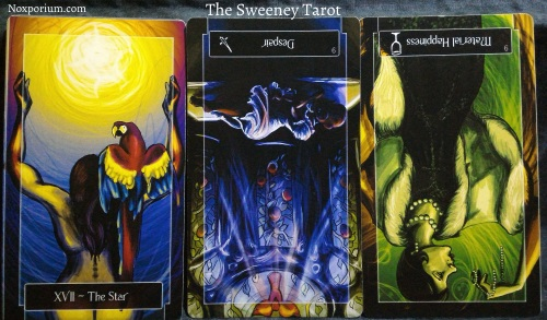 The Sweeney Tarot: The Star, 9 of Swords reversed, & 9 of Cups reversed.