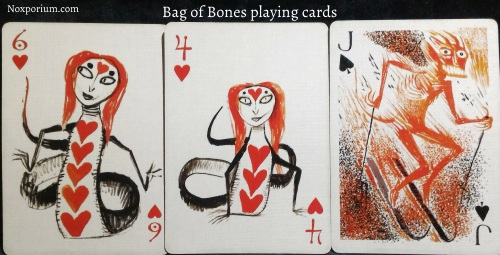 Bag of Bones: Six of Hearts, Four of Hearts, & Jack of Spades.