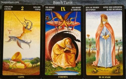 Bosch Tarot: 2 of Chalices, The Hermit, & King of Swords.