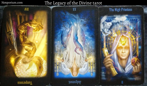 The Legacy of the Divine: Temperance reversed, Judgement reversed, & The High Priestess.