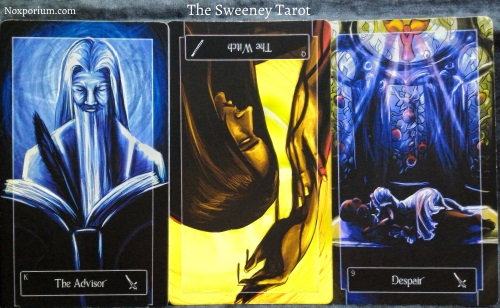 The Sweeney Tarot: King of Swords, Queen of Wands reversed, & 9 of Swords.