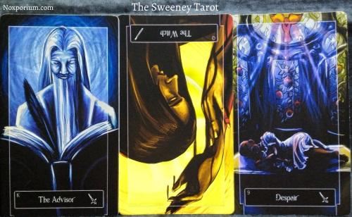 The Sweeney Tarot: King of Swords, Queen of Wands reversed, & 9 of Swords.