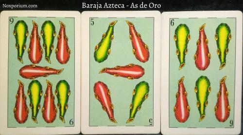 Baraja Azteca - As de Oro: 9 Bastos, 5 Bastos, & 6 Bastos.