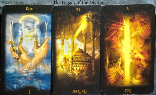 The Legacy of the Divine: 2 of Cups, The Tower reversed, & Faith [V] reversed.