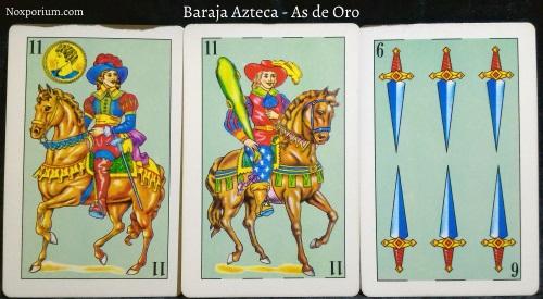 Baraja Azteca - As de Oro: 11 Oros, 11 Bastos, & 6 Espadas.