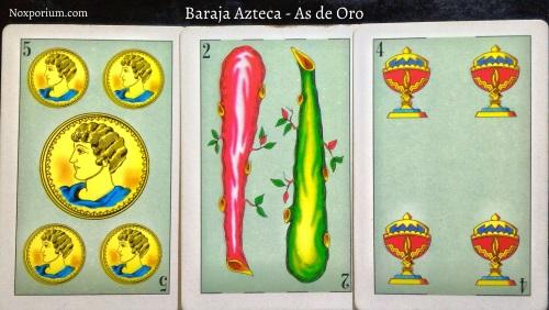 Baraja Azteca - As de Oro: 5 Oros, 2 Bastos, & 4 Copas.