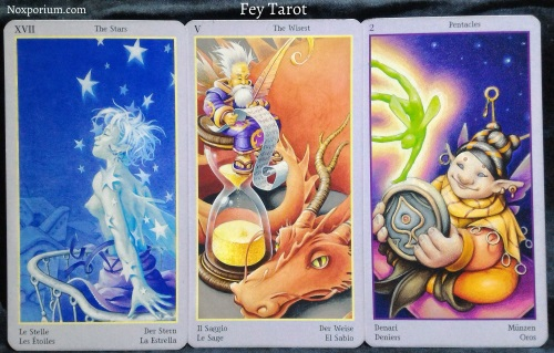 Fey Tarot: The Stars, The Wisest [V], & 2 of Pentacles.