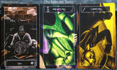 The Sweeney Tarot: 5 of Coins, Queen of Cups reversed, & King of Wands reversed.