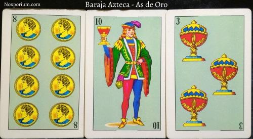 Baraja Azteca - As de Oro: 8 Oros, 10 Copas, & 3 Copas.