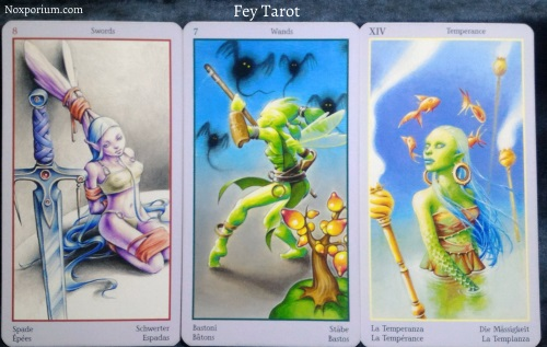 Fey Tarot: 8 of Swords, 7 of Wands, & Temperance.