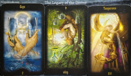 The Legacy of the Divine: 2 of Cups, 4 of Cups reversed, & Temperance.