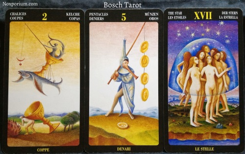 Bosch Tarot: 2 of Chalices, 5 of Pentacles, & The Star.