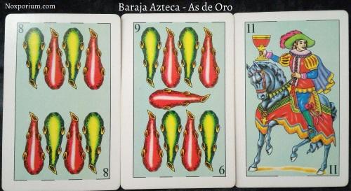Baraja Azteca - As de Oro: 8 Bastos, 9 Bastos, & 11 Copas.
